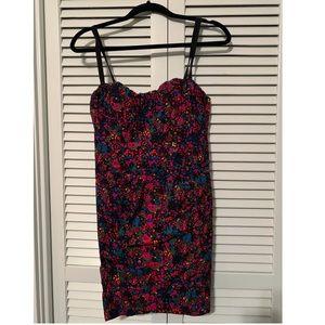 Nanette Lepore Floral Ruched Corset Mini Dress
